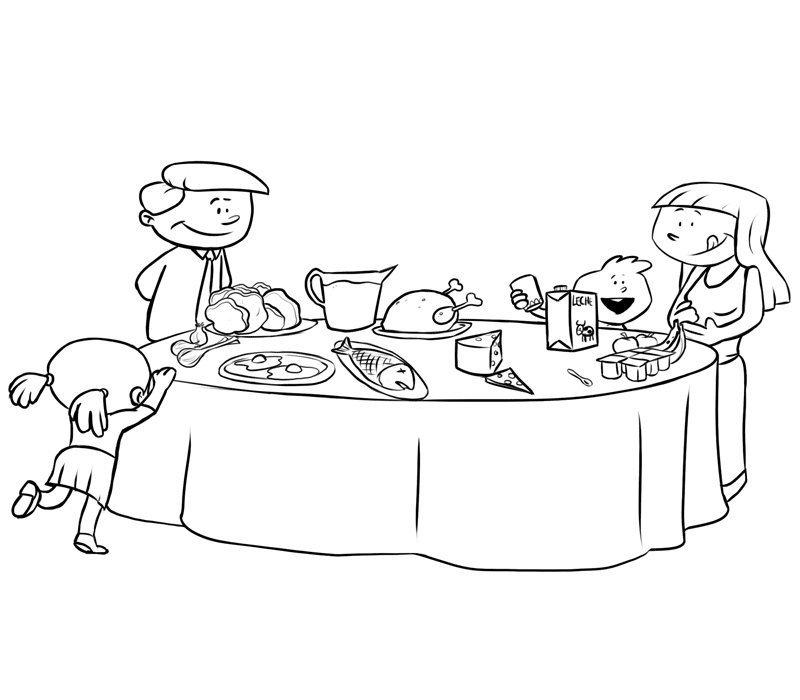 Dibujos de una cena en familia para colorear con los niños