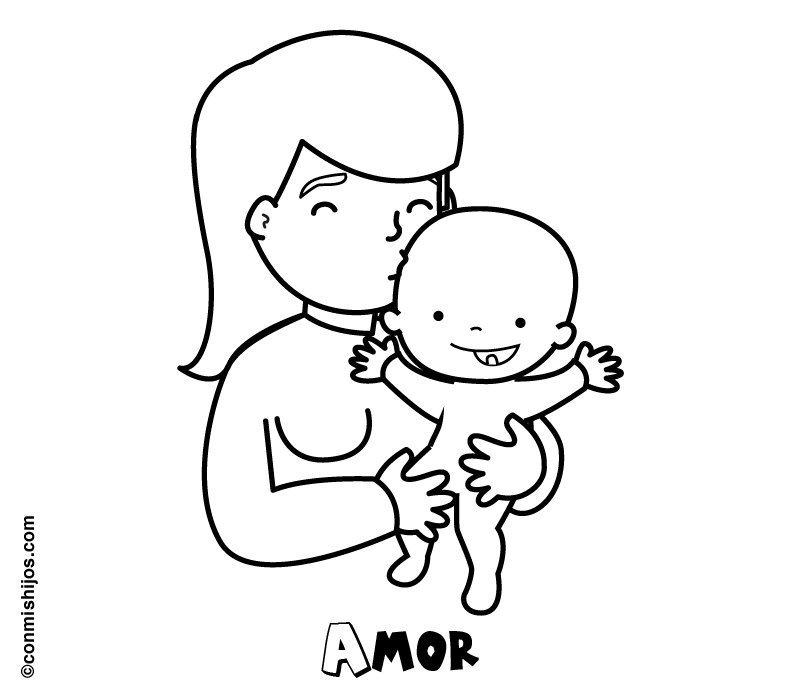 Mamá Con Su Bebé Dibujo Para Pintar Con Los Niños