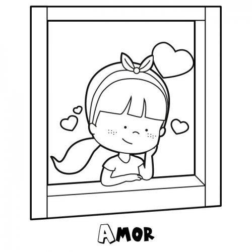 Desenho de menina apaixonada na janela