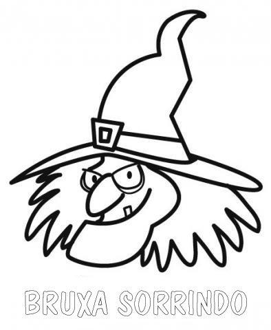 Desenho para colorir da cara de uma Bruxa simpática