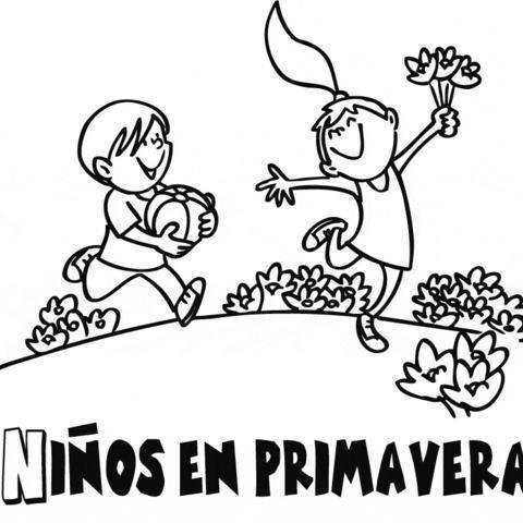 Dibujos Para Colorear De Niños Jugando En Primavera