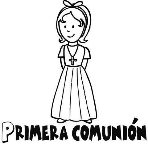 Dibujos para colorear de niña en su Primera Comunión