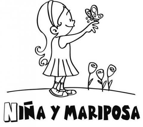 Dibujos para colorear con niños de niña y mariposa
