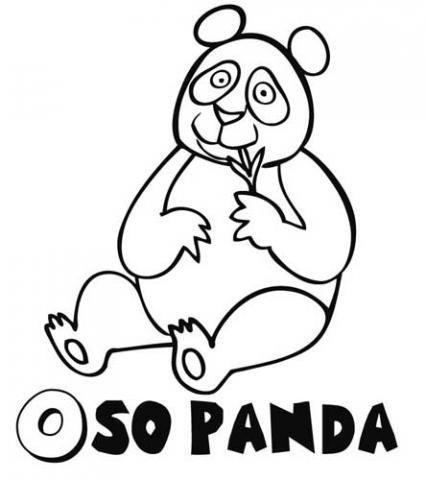 Dibujo Para Colorear Con Los Ninos De Un Oso Panda Con Hojas De Bambu