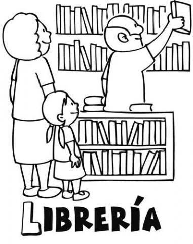 Dibujos para colorear de niños en una librería. Dibujos de tiendas
