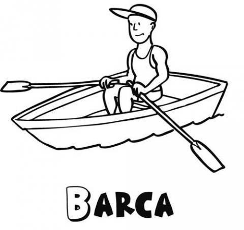 Barca de remos para colorear. Dibujo infantil
