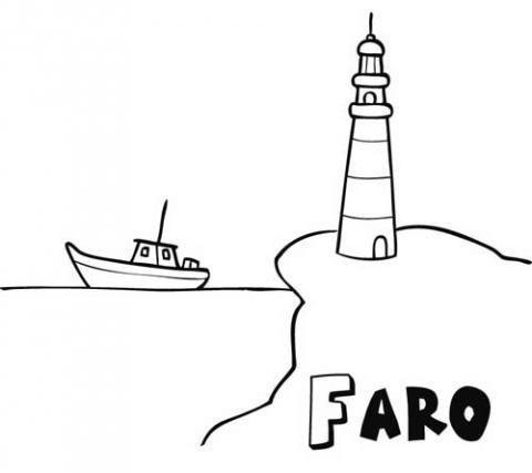 Dibujo De Faro Y Barco Para Imprimir Y Pintar Dibujos Del Mar Para