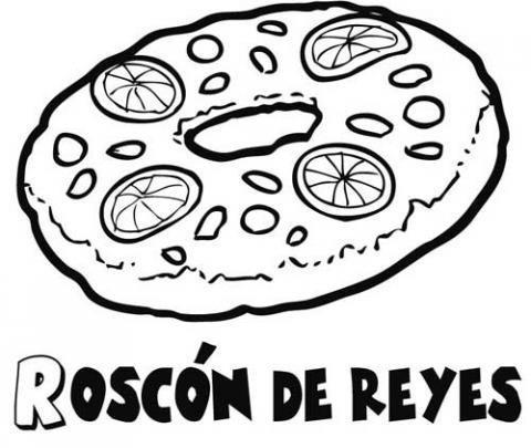 Dibujo para colorear en Navidad con un Roscón de Reyes