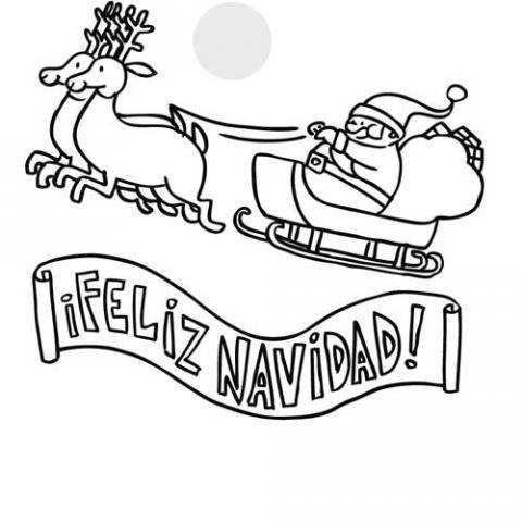 Dibujos para colorear de un cartel de Feliz Navidad