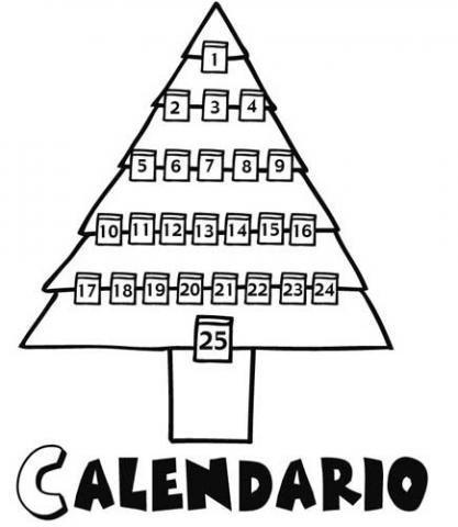 Calendario de adviento para colorear en Navidad por los niños