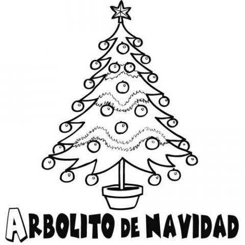 Dibujo para colorear de árbol de Navidad decorado