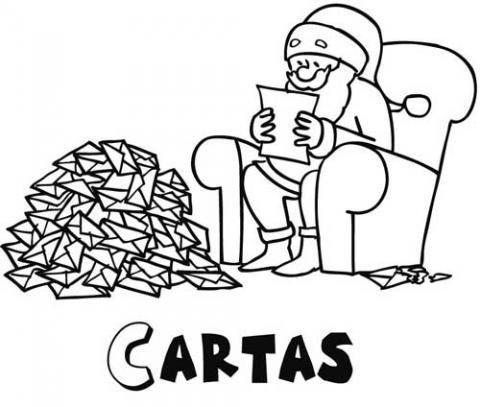 Dibujo de Papá Noel leyendo cartas de los niños
