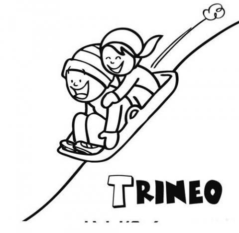 Dibujo de trineo para que los niños pinten