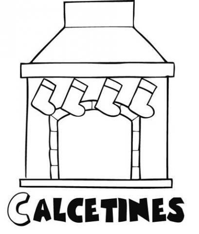 Calcetines en la chimenea. Dibujos de Navidad