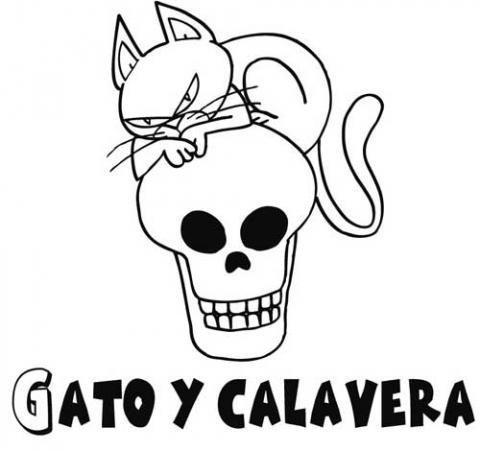 Dibujo infantil de gato y calavera para pintar