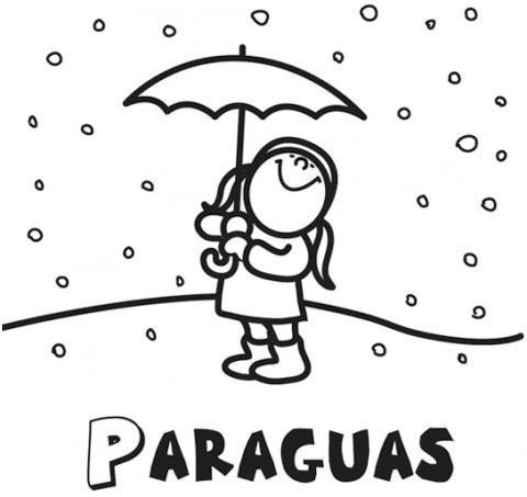 Dibujos para colorear de una niña con paraguas en Navidad