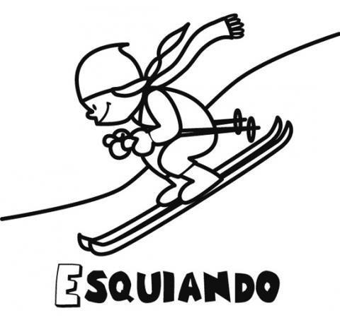 Dibujo de un niño esquiando para imprimir y colorear