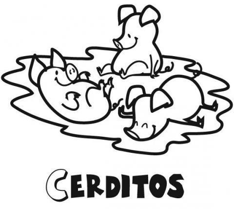 Dibujo Infantil De Animales Cerditos Para Colorear