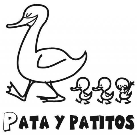 Dibujo para pintar de mamá pata y sus patitos. Dibujos de animales