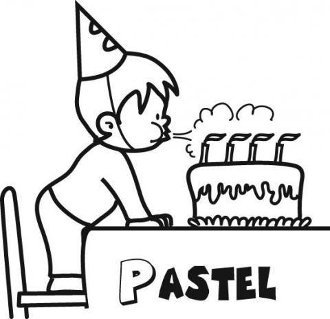 Dibujo De Un Pastel De Cumpleanos Para Colorear Con Los Ninos