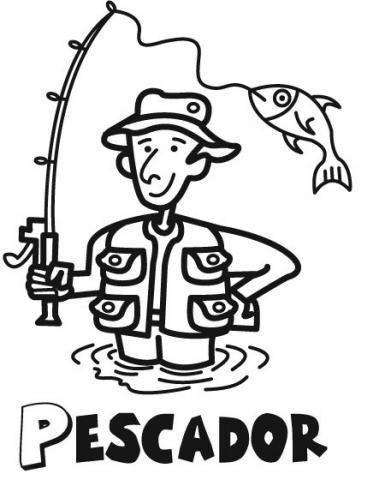 Dibujo de un pescador para imprimir y colorear con niños