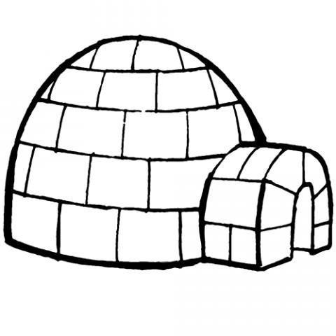 Dibujo infantil de un iglú para que los niños pinten