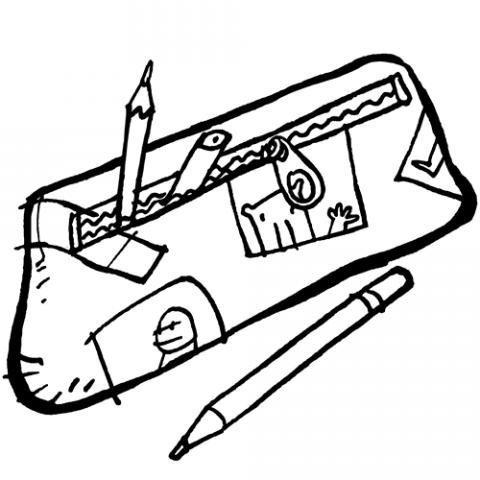 Dibujo para imprimir y pintar de un estuche con lápices