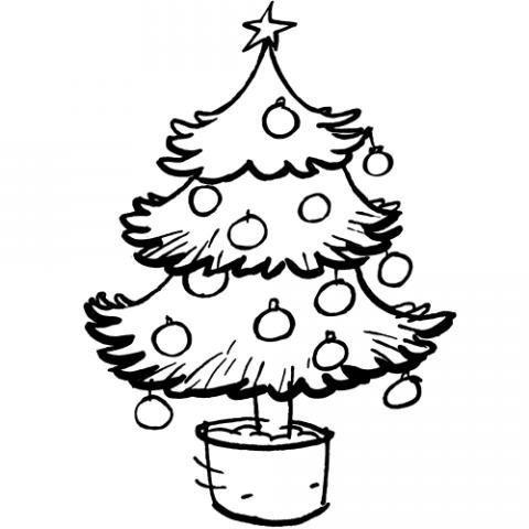 árbol De Navidad En Maceta Dibujo Para Colorear Con Los Niños