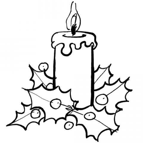 Imagen de vela de Navidad para colorear