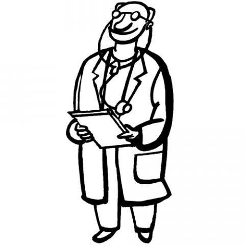 Desenho de médico para pintar