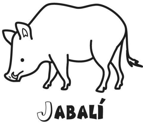 Dibujo para pintar de un jabalí. Dibujos de animales para imprimir