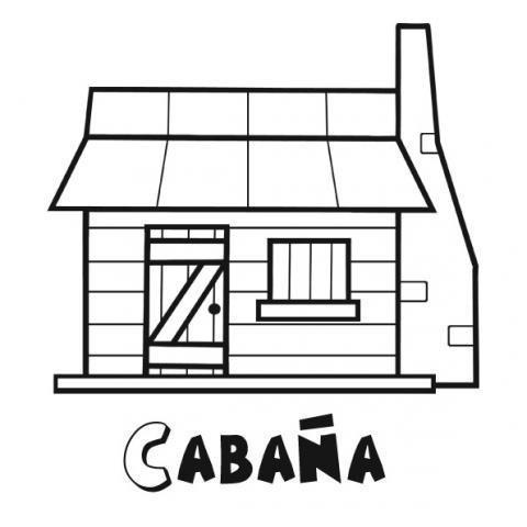Dibujos infantiles de una cabaña de madera para niños