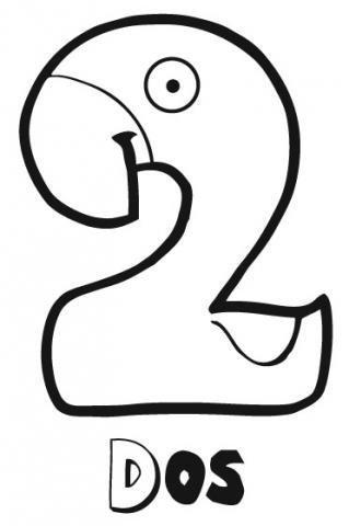 Dibujo para colorear del número dos para los niños