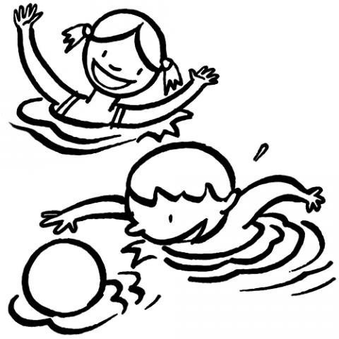 Dibujos para colorear de niños en la piscina