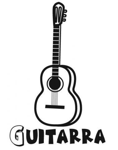 Dibujo de guitarra. Imágenes de música para colorear