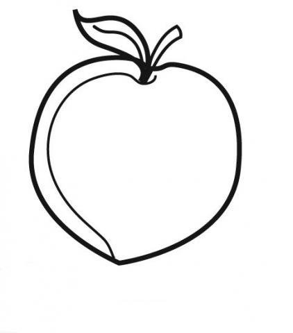 Dibujo de un melocotón para imprimir y pintar. Dibujos de frutas