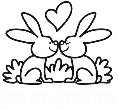 Dibujos infantiles de conejos en primavera para imprimir y colorear con niños