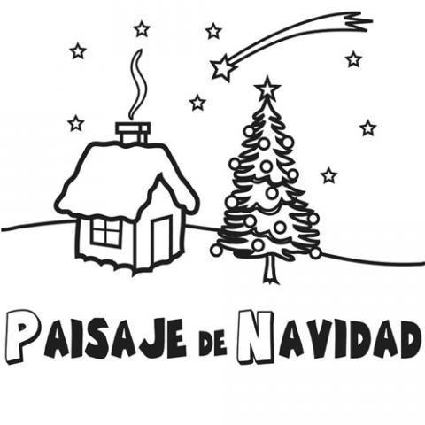 Dibujo de un paisaje de Navidad para colorear con los niños