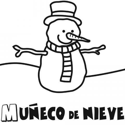Dibujo para colorear de un muñeco de nieve. Dibujo de invierno
