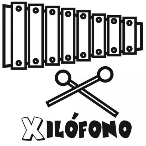 Dibujo de xilófono para colorear. Imágenes de música