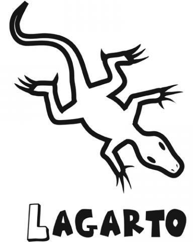Dibujo de lagarto para imprimir y colorear. Dibujos de animales