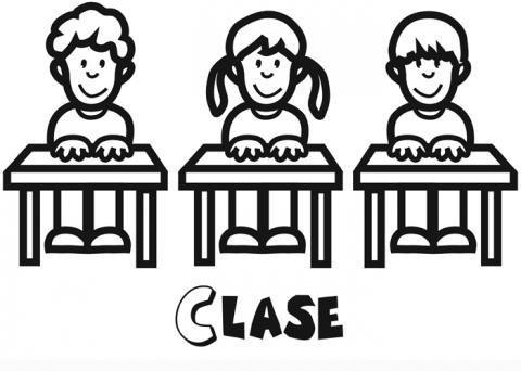 Niños en clase para colorear. Dibujos infantiles