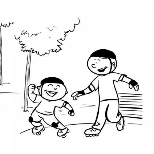 Niño patinando con su papá