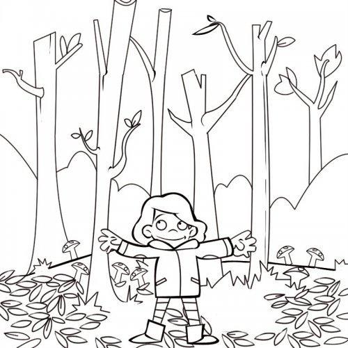 Dibujo para colorear con los niños de una niña en el bosque en otoño