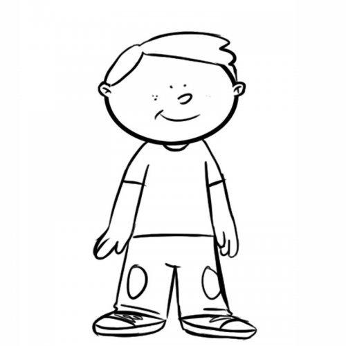 Dibujo para colorear de un niño contento