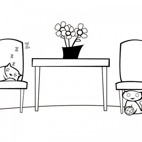 Dibujos para colorear de gatos durmiendo en el salón