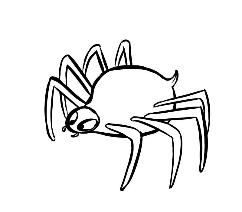 Dibujo infantil de araña venenosa para imprimir
