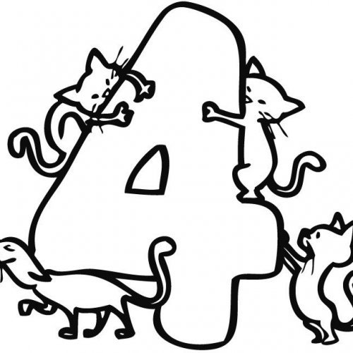 Desenho do número 4 para colorir com as crianças