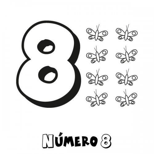 Desenho do número 8 para colorir