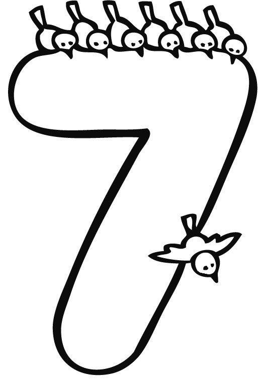 Desenho para pintar do número 7
